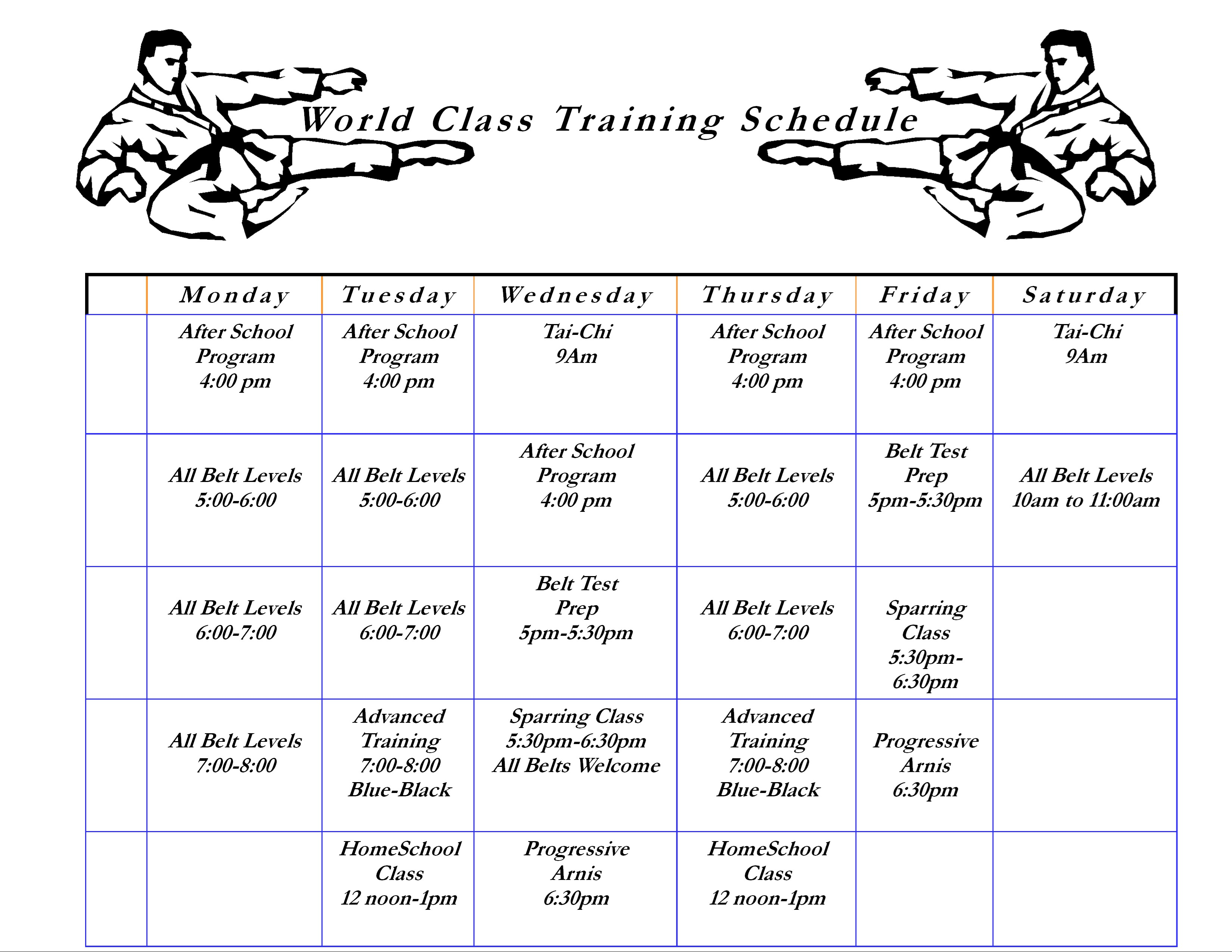 New Training Schedule